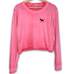 Pink Burnout Long Sleeve Crop Raw Hem Top size Medium