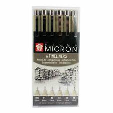 Sakura pigma micron pen set 6 black fineliner archival pigment