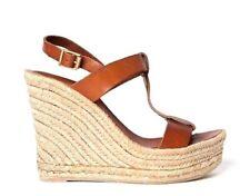 DELMAN Trish Wedge 7.5 Leather Brown Straps Platform Sandal