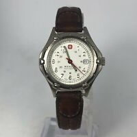Vintage Wenger Womens SAK Design Brown Leather Band Date Indicator Quartz Watch