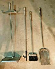 Vintage Solid Brass Fire Place Tool Set 3 Pcs plus stand 1970's Heavy Steampunk