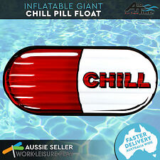 Giant Inflatable Pool Float Red Chill Pill Air Lounge Red Toy Large Airtime