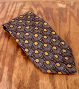 """euc Cocktail Collections Gray/Taupe Geometric Silk Tie Necktie 57"""" 3.5"""""""