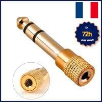 Prise Adaptateur Fiche JACK 6.35mm vers 3.5mm mâle/femelle Audio Casque Stéréo