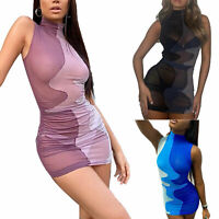 Women Color Block See-through Ruched Bodycon Sleeveless High Neck Top Club Dress