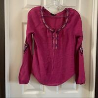 E & M Women's Pink Scoop Neck Long Sleeve Embroidered Top Medium