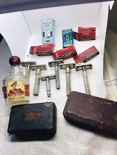 Vintage Gillette 6 Razors Shavers Blue Red Blades MacGregor Shave Lotion