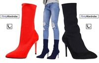 Stiletto Ankle Boots Pointy Toe High Heel Elastic Sock Shoes UK Womens Ladies