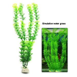 Aquarium Fish Tank Decorations Artificial Green Plastic Plant W/ Ceramic Base