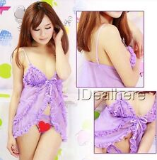 Nuisette transparente + String ♥ SEXY ♥ Lingerie Coquine Violet ♦ S/M ♦