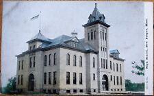 New Prague, MN 1908 Postcard: High School Building - Minnesota Minn