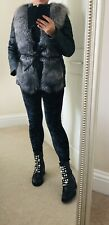 Silver Fox Fur Black Quilted Real Leather Jacket Gilet Bodywarmer Uk 10 12 M VGC