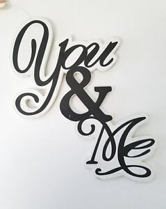 Chic Decor YOU & ME Sign - Love Symbol WOOD-like Black and White Letters