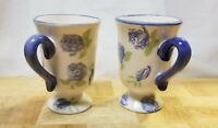🙂 2 Cheerful Footed Coffee Mugs/Tea Cups - Blue Floral Print 🙂