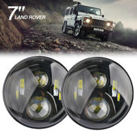 "7"" LED 2 X BLACK HALO HEADLIGHTS E MARKED RHD FOR LAND ROVER DEFENDER 90 110"