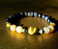 Men Tiger eye,Onyx Lava Citrine beaded stone Bracelet, MEN gift