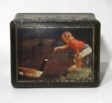 "Old French Candy Tin Box, Excelvit, ""Little Girl with Goose"""