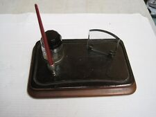 ANTIQUE INKSTAND BOTTLE CRYSTAL AND BASE IN WOOD RARE