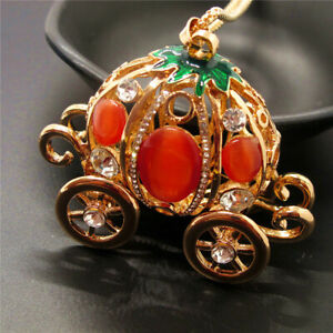 Betsey Johnson Orange Crystal Opal Cute 3D Pumpkin Car Pendant Chain Necklace