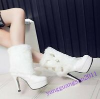 New Ladies Shoes High Heels Platform Pu Leather Ankle Boots Fur Lined Winter Sz