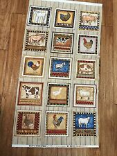HAPPY HOMESTEAD FARM ANIMALS cotton quilters Fabric Panel 24 x 44