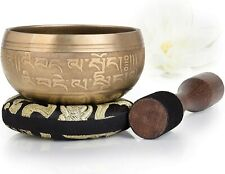 Tibetan Singing Bowl Set With Dual Surface Mallet and Silk Cushion