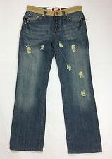 Adsl jeans men w34 tg 48 jeans usato strappi gamba dritta straight boyfriend blu