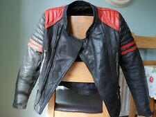 Vintage Leather Biker Jacket-size small--Moto Cuir--VERY RARE--CLASSY DETAILS