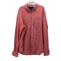 Banana Republic Mens Large Slim Fit Pink White Gingham Plaid Long Sleeve Shirt