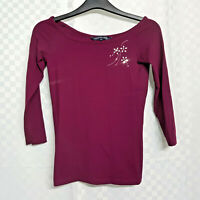Ladies FRENCH CONNECTION Top Size M UK 10 Burgundy Red Stretch Beads Long Sleeve