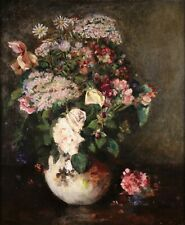 EUGENE PETIT (1839-1886) FRENCH LARGE STILL LIFE OIL CANVAS BOUQUET OF FLOWERS