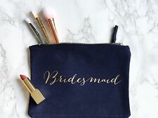Personalised Bridesmaid Make Up Bag/Pouch - Navy/Gold - Wedding Gift Favour