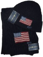 NEW RALPH LAUREN POLO KNIT WOOL FLAG HAT & SCARF SET ONE SIZE