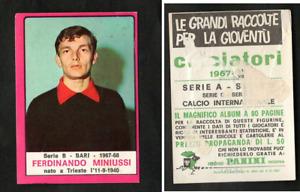 Figurina Calciatori Panini 1967-68 Miniussi (Bari) Ottima Orig. GARANTITA RARA ▓