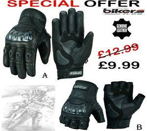 MENS SUMMER PERFORATED HARD KNUCKL MOTORBIKE MOTORCYCLE MOTOCROSS LEATHER GLOVES
