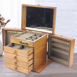 Antique Vintage Armoire Jewelry Box 5 Drawer Storage Chest Stand Storage Wood US