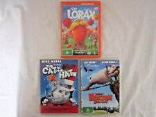 Dr. Seuss 3 x DVD's The The Lorax & The Horton & The Cat In The Hat discs clean