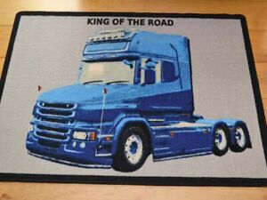 Large Boys Girls Kids Childrens Small Bedroom Truckers Lorry Blue Truck Rugs Mat
