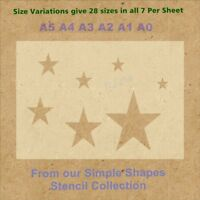Simple Shape Stars Stencil Strong 350 micron Mylar not Hobby stuff #SSS009