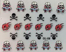 Nail Art 3D Decal Stickers Halloween Flame Skull Glory Bones GL08