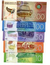 NICARAGUA 10 20 50 100 200 CORDOBAS 2014(2015) P-208-212 UNC SET OF 5