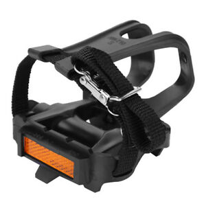 Bike Pedals With Toe Clip And Straps 1 Pair Bicycle Platform Pedals For Exercise