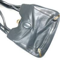 Lou Taylor 1960s Vintage Blue Gray Leather Bag Purse Pop-In Mirror ITALY