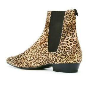 New Men High Top Chelsea Ankle Boots Leather Chukka Leopard Casual Flats Shoes N