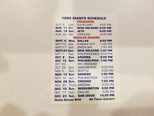 New York Giants 1995 NFL Football Pocket Schedule - Allied Strauss