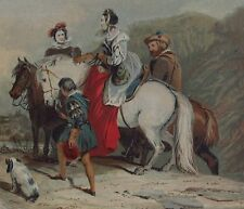 THE HUNTING PARTY - Chromolithograph C1860, George C Leighton