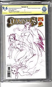 Damsels # 1 (2012) Dynamic Forces Ed - CBCS 9.6 WHITE Pages SS J Scott Campbell