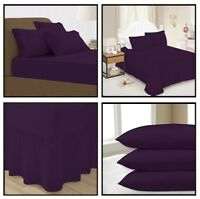 Plum Plain Dyed Fitted Flat Valance Bed Sheets Single Double King Pillow Case