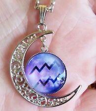 Aquarius Zodiac Necklace Pendant Horoscope Astrology Sign Crescent Moon Purple