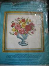"Vtg HTF Paragon VASE OF FLOWERS Wool Crewel Embroidery Kit 0634 / 18X18"""